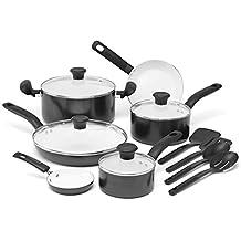 T-Fal C921SE64 Initiatives Ceramic Nonstick Dishwasher/Oven Safe Healthy PTFE-PFOA-Cadmium Free Cookware Set, 14-Piece, Black