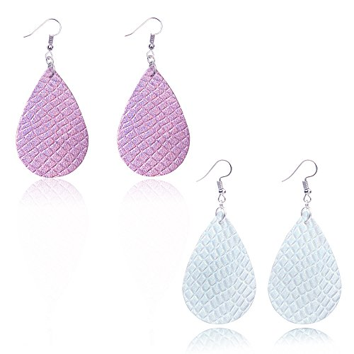 (Teardrop Leather Earrings Soft and light Genuine Leather Teardrop Earrings Leaf Drop Earrings Antique Looking Various Colors 2 Pairs Pack for women (Purple+White))