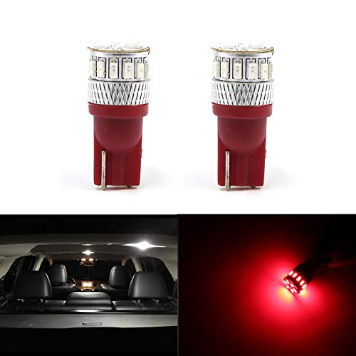 (194 192 168 175 2825 579 147 152 158 159 161 184 Dome Map Read Light T10 Wedge 3014 18SMD Chipsets Extremely Bright Red Side Door Corner Light Licence Light (Set of 2) )