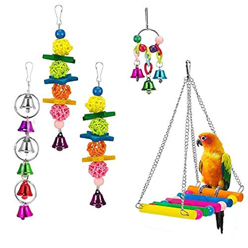 Parrot Bird Toy Set Swing Bells Hanging Bridge Wooden Chewing Colorful Pet Cage Toy for Birds Suggested for African Grey Cockatoos, and a Variety of Amazon Parrots (Multicolor) (Drum Bird Toy)
