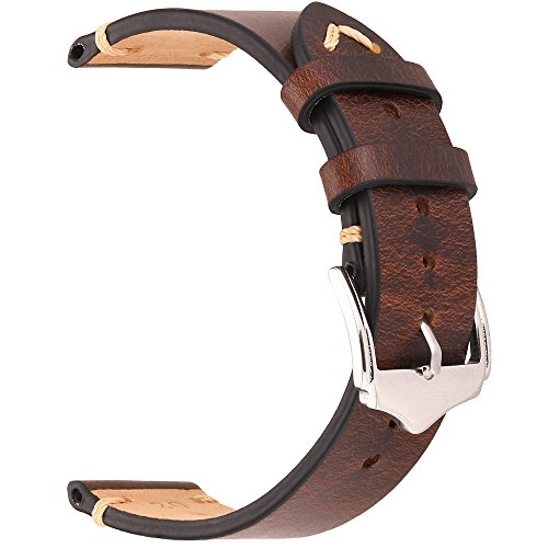 EACHE 20mm Genuine Leather Watch Band Dark Brown Oil Wax natural crack leather Replacement Straps (Genuine Leather Watch Strap)