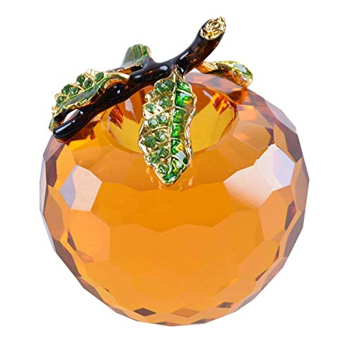 LONGWIN Crystal Apple Figurine Paperweight 60mm (2.4 inch) Cut Faceted Glass Christmas Decoration Onaments Amber