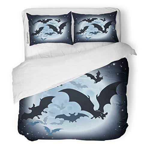 Tarolo Bedding Duvet Cover Set Haloween Halloween Featuring Vampire Bats and Full Moon Hallowen Helloween Big 3 Piece Twin 68