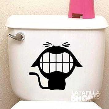 lazarillaSHOPTM • Pegatina Sticker Vinilo Gato WC Pegatina para Aseo Puerta del baño Toilet Sticker • 20x17,5cm • Color Negro: Amazon.es: Hogar