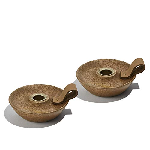 (LampLust Wood Taper Candle Holders, Set of 2 - Rustic Wooden Chamberstick Candleholder with Decorative Leather Handle, Holds Standard Size Candlesticks)