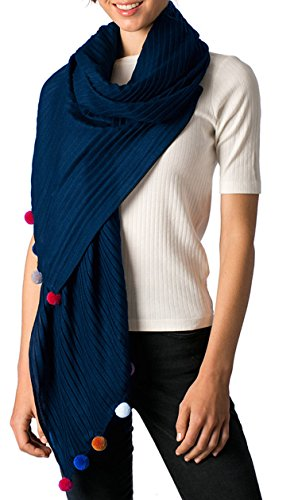 - Apparelism Women's Soft Large Pleated Wrap Scarf Shawl Collection. (Pom-Navy, OneSize)