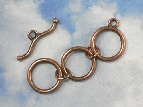5 Sets Extender Toggle Clasps Copper Tone 3 Round Rings Closures #ID-152