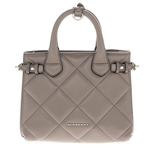 Burberry Women's Baby Banner Grey Tote in Quilted Lambskin