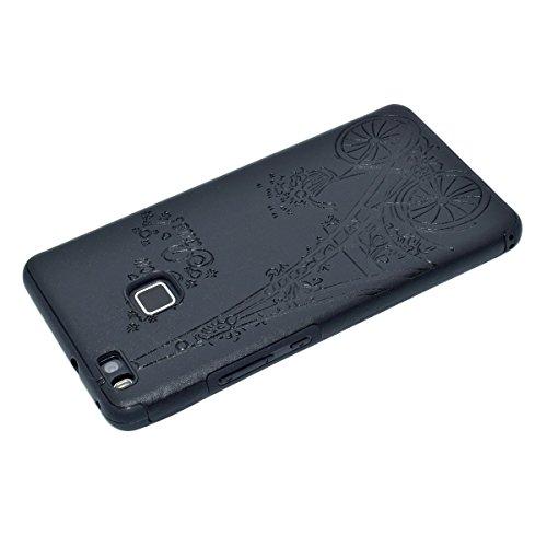inShang Huawei P9 Lite,Ascend P9 Lite case Funda y Carcasa para Huawei P9 Lite case Huawei P9 Lite móvil, Ultra delgado y ligero Material de TPU, carcasa posterior (Back case) con , Black tower