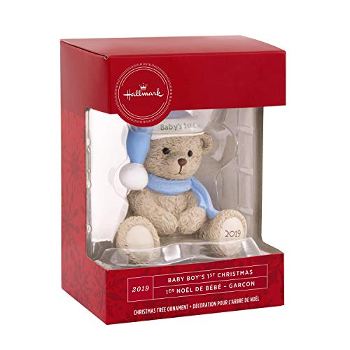 Hallmark Babys 1st Baby Boys First Christmas Ornament Blue Teddy Bear 2019 (Hallmark Ornament First Christmas)