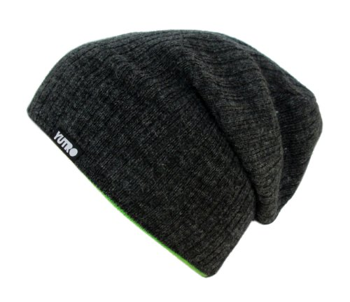 YUTRO Reversible Unisex Slouch Wool Knit Beanie Hat One Size CHARCOAL/GREEN