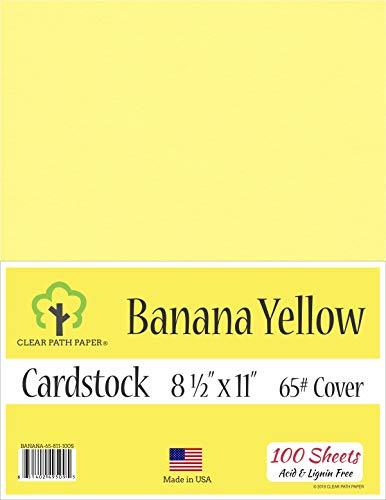 Banana Yellow Cardstock - 8.5 x 11 inch - 65Lb Cover - 100 Sheets