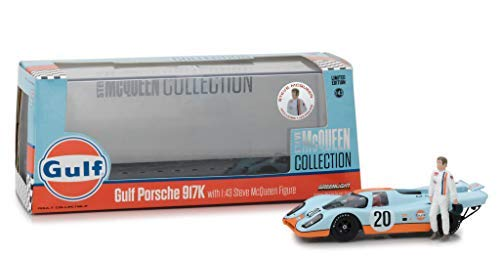 1970 Porsche 917K Gulf #20 with Steve McQueen Figurine Steve McQueen Collection (1930-1980) 1/43 Diecast Model Car by Greenlight 86435