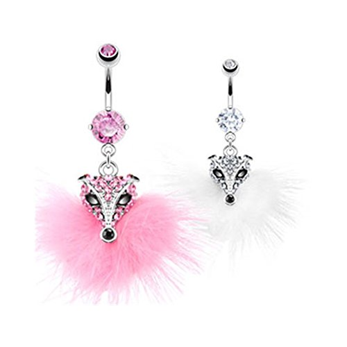 MsPiercing Navel Ring With Dangling Furry Jeweled Fox Head, Pink