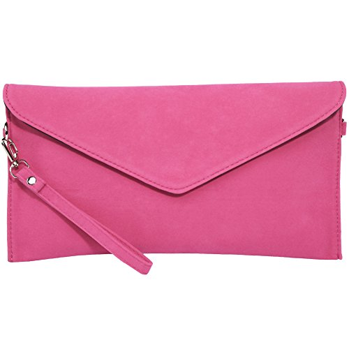 kormei Mujer PU ante Bolsos Envelope Clutch Party funda Rosa