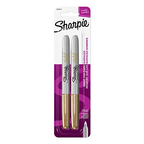 Sharpie Metallic Permanent Markers, Fine Point, Gold, 2 Count (Stencil Paint Brush Dry)