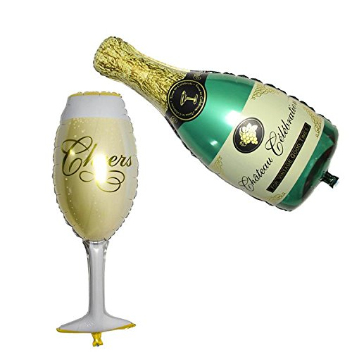Eshanmu Wine Glass And Champagne Foil Balloons For Wedding Birthday Party Anniversary Decorations Birthday Wine Bottle