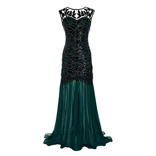 Todaies Women Vintage 1920s Sequined Patchwork Sleeveless Maxi Long Evening Prom Dress (2XL, Green)