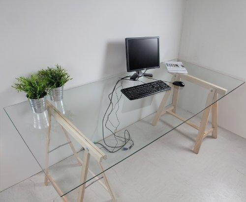 Glasplatte Klarglas für Schreibtisch 775 x 2050 x 8mm, 8mm Sicherheitsglas mit Kabeldurchführung