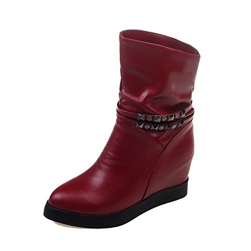 AllhqFashion Womens Solid PU High-Heels Pull-on Pointed Closed Toe Boots Claret zOfc0RVX