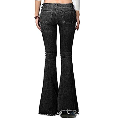 Taille Pantalon Basse Femme Jean la Casual Tendance Jean dlphant Denim Lisli Bas Evas Pantalon Noir Mode Pattes 0YqwAEE