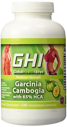 GHI 65% HCA PURE GARCINIA CAMBOGIA EXTRACT 180 Capsules - All Natural Appetite Suppressant and Weight Loss Supplement - Maximum Gold Strength 3000MG - 100% Money Back Guarantee