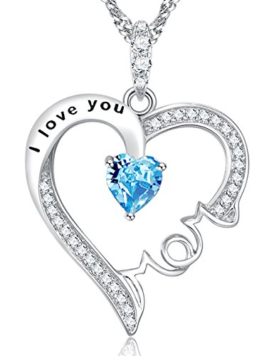 Mothers Day For Mom Jewelry I Love You Mom Love Heart Pendant Mom's Necklace Aquamarine Swarovski Sterling Silver Anniversary Gifts for women Designed Silver Pendant