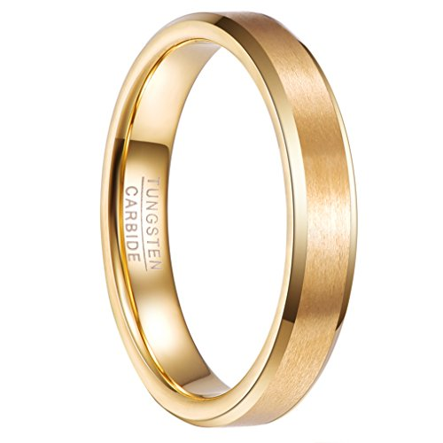 Nuncad Tungsten Wedding Ring 4mm Gold Plated for Men Plain Band Ring for Women Comfort Fit Size 8