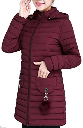 Women Down amp;S Sleeve Pockets Long 1 Hooded Coats amp;W M qxvwXd0yE0