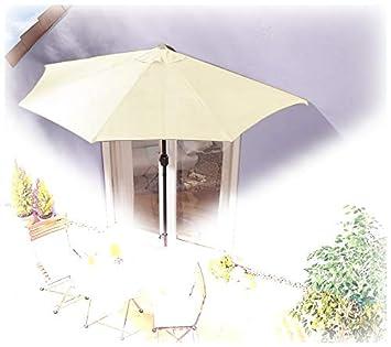 IMC Sonnenschirm halbrund beige Balkon mit Kurbel Wandschim Marktschirm  Balkonschirm Terrasse Garten Sonnenschutz Halbschirm halb Polyester
