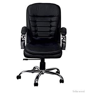 Tribe wood Funiture - Medium Back Fully Cushioned Executive Chair in Black Leatherette (Set of 2 Chair)