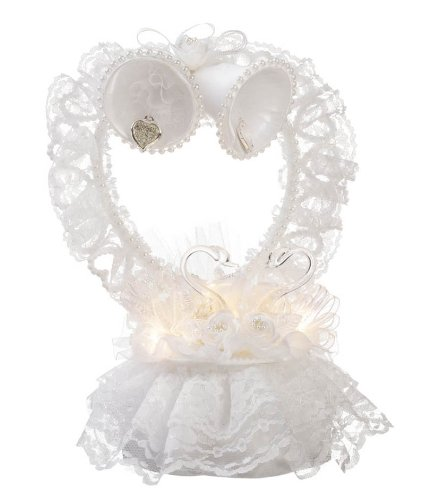 Darice VL1803WS Wedding Bridal Cake Topper Light Heart Lace with Swans Charm Bells, White