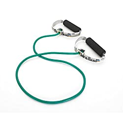 Theraband Professional Latex Resistance Tubing With Soft Handles For Physical Therapy, Pilates, Yoga, At-home Workouts, & Rehabilitation, 48 In, Green, Heavy, Intermediate Level 1