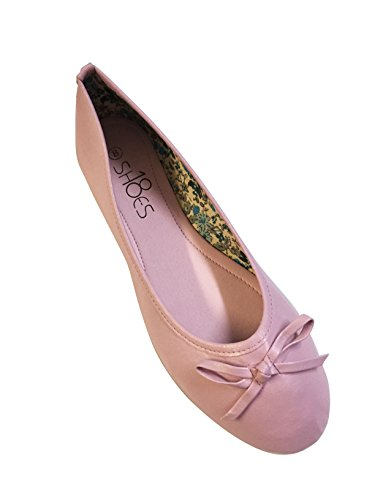 New Womens Ballerina Ballet Flats Shoes Leopard & Solids 12 colors (8, Pink 8500)