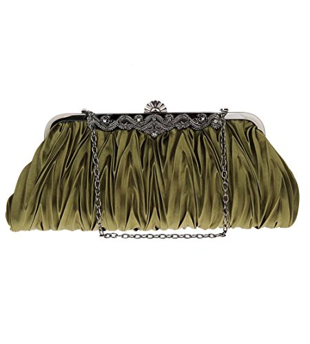 Clutch Prom Party Puluo for Evening Pleated Bags green Satin Womens Wedding Red Handbags Bag CqFfaxC