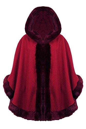 Coat Mujer Wine Janisramone Cape Cálido Para Wrap De Señoras Chal Sintética Borde Celebrity Con Nuevo Capucha Poncho Piel Funda gqTwqU