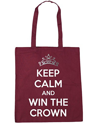 HippoWarehouse Keep calm and carry on y ganar la corona Tote Compras Bolsa de playa 42cm x38cm, 10litros granate