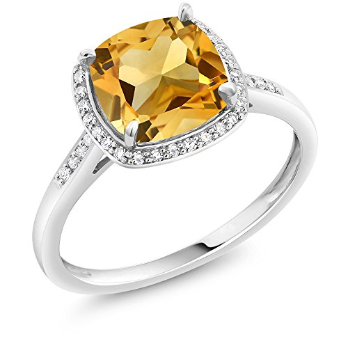 Gem Stone King 10K White Gold Citrine Ring with Accent Diamonds 3.00 Ct Cushion Yellow Gemstone Birthstone Engagement (Size 8)