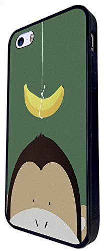 501 - Cute Monkey Face Banana Funny Design iphone SE - 2016 Coque Fashion Trend Case Coque Protection Cover plastique et métal - Noir