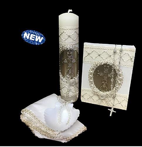 English Handmade Christening/Baptism Baby Set for Girl, Ivory Gold Trim Cross : Candle, Bible, Dry Cloth, Sea Shell and Rosary Favors -Bautizo Recuerdosligious Gift - Christening Set