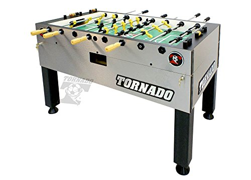 Tornado Foosball Table - Made in The USA - Commercial Tournament Quality for The Home - Made by Valley Dynamo - Incredible Table Soccer Game (Tournament 3000-1 Man Goalie, Silver)