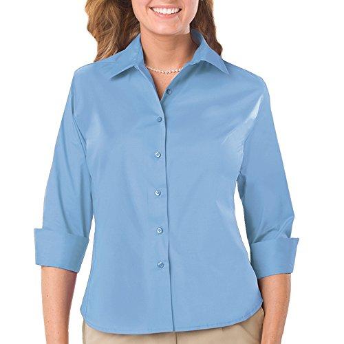 Blue Generation BG6218 - LADIES' EASY CARE STRETCH POPLIN BLOUSE (XL, Lt Blue) (Cotton Stretch Blouse Poplin)