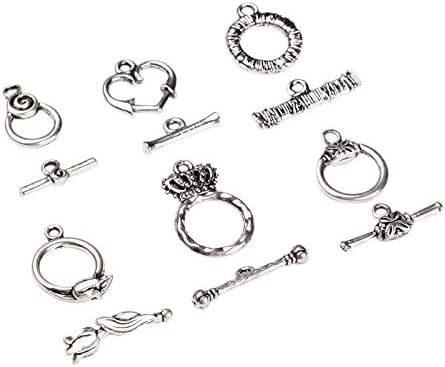6 Style, 5sets//Style Antique Silver Tibetan Style Alloy Ring Toggle Clasp Sets Lead Free Pandahall 30 Sets