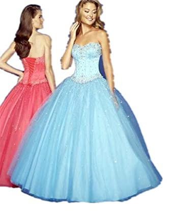 Clearance sale B13 Blue prom ball gown dress Party Sequins Prom Gown Evening Dress size 28