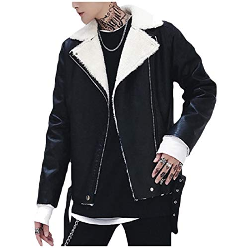 Collar Howme Leather Jacket Down Turn Men Fashion Casual Coat Black Sherpa YPwT0q1P