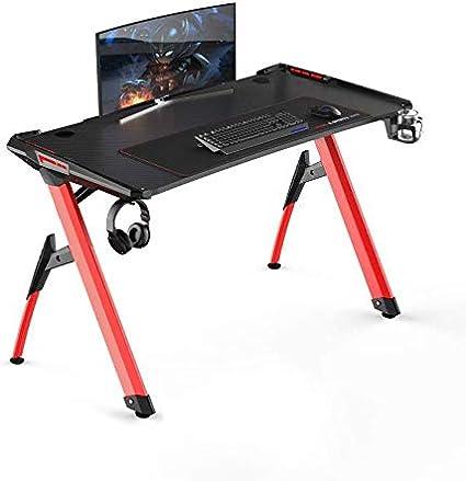 soges 120 * 60 Gaming Desk Computer Computer Computadora Gamer Pro Tablas con Luces LED Ergonómica PC Desk con Mouse Grande ST-R3-BK