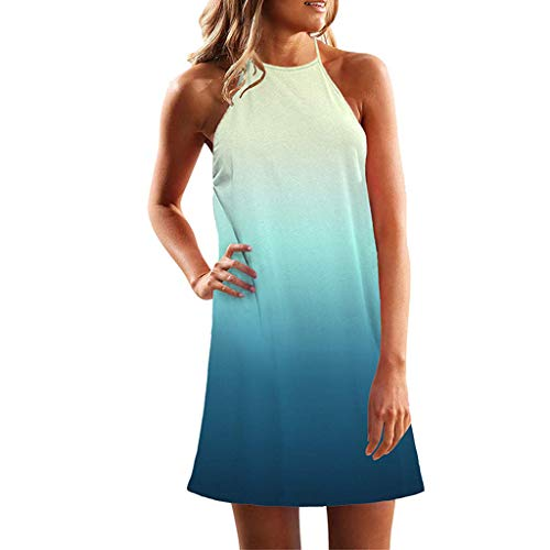 TIANMI Women Tunic Dress Sleeveless Crew Neck Casual Loose Fitting Gradient Dresses Sky Blue ()