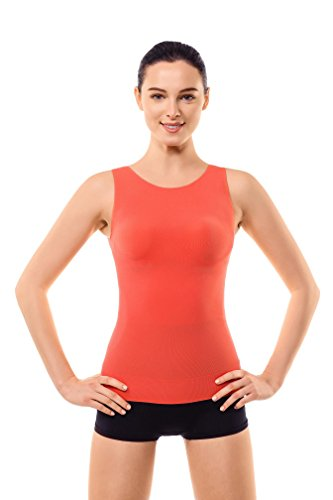 Body Shaping Support (MD Shapewear Tank Top Body Shaper Camisole Cami Workout For Tummy and Waist Large Orange)