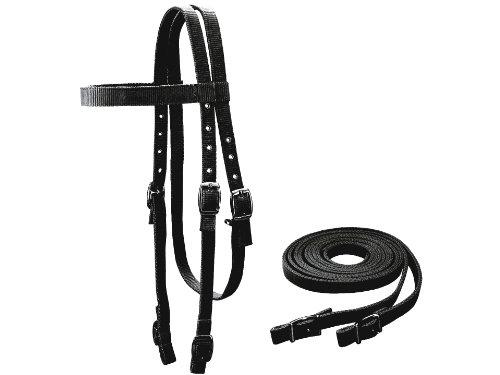 Tahoe Tack Double Layer Nylon Full Horse Headstall with Reins (Black, Cob) (Headstall Nylon)