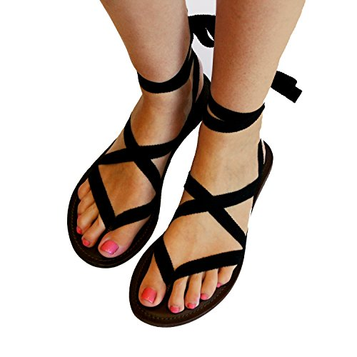 TOJ Womens Flat Barefoot Sandals :: Gladiator Sandals For Women :: Choose Your Own Straps :: 100% Leather Sole (10, Dark Brown)
